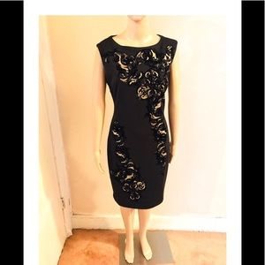 Carmen Marc Valvo black and gold dress